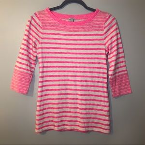 J.Crew hot pink striped 3/4 sleeve boat neck top